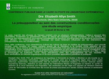 Affiche La présupposition au sein des constructions conditionnelles : une étude empirique